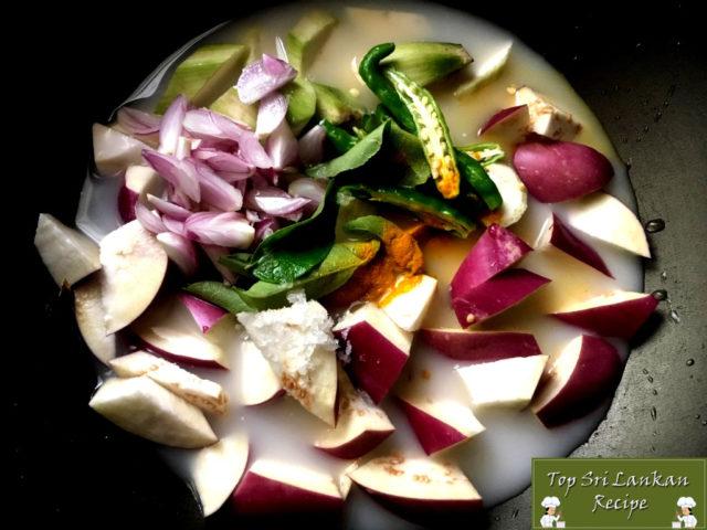 Eggplant Plantain Curry Sri Lankan Style   Kaththarikai Vazhakkai Paal Curry