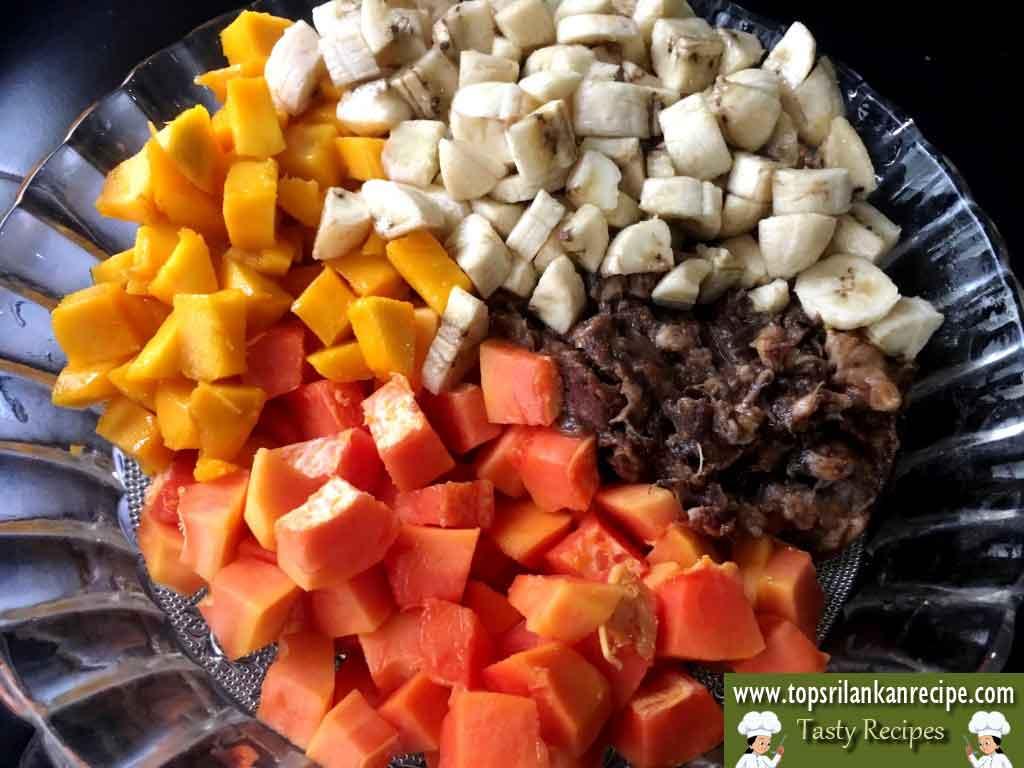 Easy Fruit Salad Recipe With Milk Powder, Cashew Nuts & Raisins